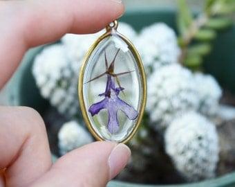 Lobelia pressed flower necklace