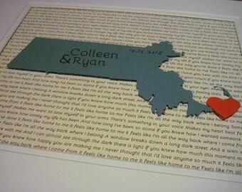 Wedding Song Lyrics, Where We Met Map, State Art, Paper Anniversary State Love Wedding Gift, Texas State Art, Paper Anniversary Gift For Him