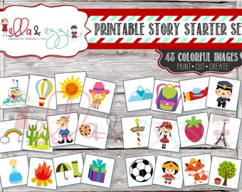 Story Starter Set, PRINTABLE Story Starter, Story Stones, Montessori, Educational Toy, Quiet Time, Quiet Book, PDF File