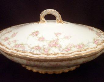 Rare Theodore Haviland Limoges Schleiger 340 Oval Porcelain Covered Vegetable Server