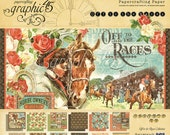 SALE!! NEW!! Graphic 45 Off To The Races 12x12 Paper Pad, SC007669