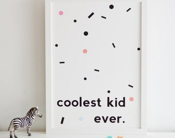Coolest Kid Ever Nursery Print Boys Room Kids Room nursery decor new baby gifts baby shower
