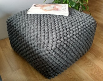 Crochet Stuffed Gray/Grey pouf-ottoman / Knit grey ottoman / Crochet footstool