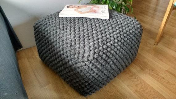 Crochet Gray pouf-ottoman / Knit grey ottoman / Crochet footstool