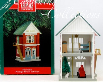 1991 Hallmark Fire Station Keepsake Ornament Nostalgic Houses and Shops Series 8th in box #8 Fire Hall Department Dalmatian Vintage