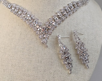 Bridal jewelry set,  vintage inspired rhinestone crystal ,Necklace with Earring, wedding jewelry set