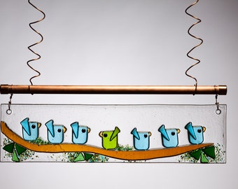 Aqua and Green Birds of Happiness Handmade Fused Glass Suncatcher