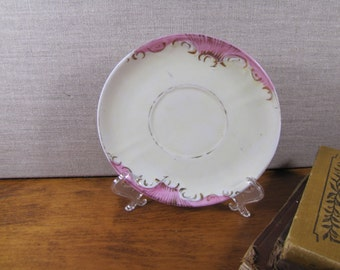 Vintage Saucer - Pink Panels With Gold Accent
