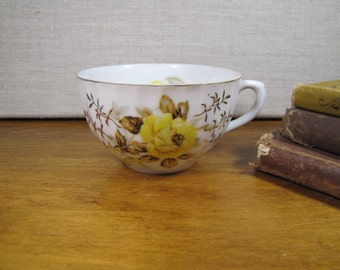 Vintage Yellow Floral - Ribbed Teacup