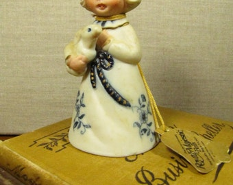 Jasco Royal Majestic Bell - Bisque and Porcelain Bell - Girl With Rabbit