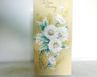 Vintage Get Well Wishes-Paper Ephemera. Embossed Glittered Get Well Mums, Vintage Embossed Card, Vintage Chrysanthemums Ephemera