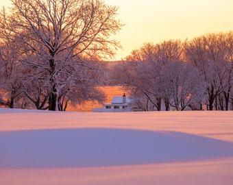 Tee Time ~ Warwick Country Club, Warwick Neck, Rhode Island, Sunset, Art, Artwork, Photograph, New England, Snow, Winter Scenes