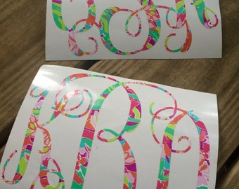 Custom/Personalized Lilly Pulitzer Inspired Vine Monogram Car Decal-Girly-Love-Bright-LuLu-Southern-Lilly-Pulitzer-Vinyl Decal-Window