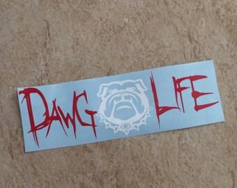 Vinyl Georgia Bulldog Dawg Life Car Decal Go Dawgs- Sick Em-Georgia Bulldogs-Go Georgia-GA-Red-Black-White