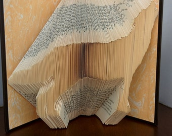 Wolf - Folded Book Art - Fully Customizable, wolf, howl, animal