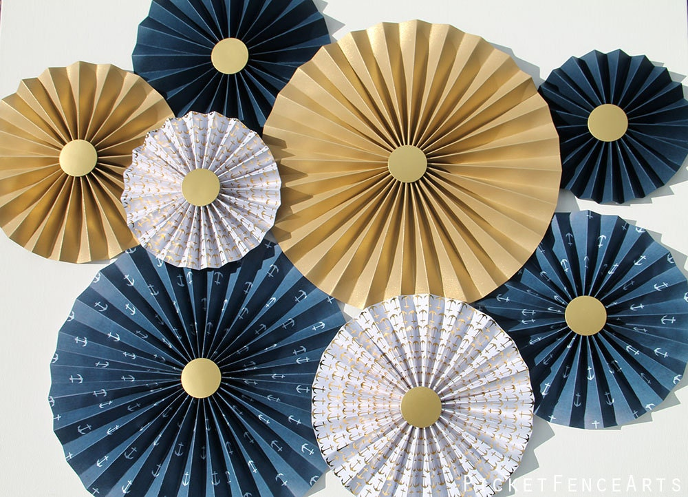 Nautical Blue And Gold Paper Rosettes Paper Fans Backdrop