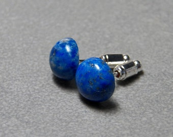 5mm, 8mm or 10mm Sodalite Gemstone Post Earrings with Sterling Silver