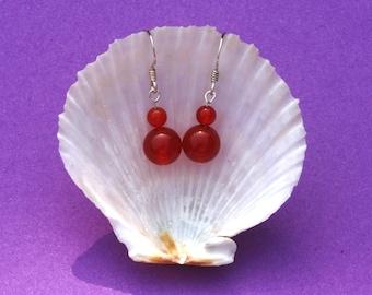 Sterling silver earrings with carnelian gemstone, Hypoallergenic, Cancer, Taurus, Orange earrings, Red earrings, Sacral chakra jewellery