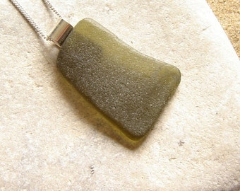 Large Sea Glass Necklace, Northumbrian Sea Glass Pendant, Pendant Sterling Silver, English Sea Glass Jewelry Green,  Handmade Birthday Gifts