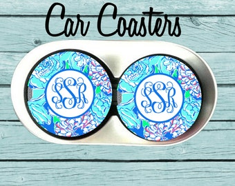 Monogram Car Coaster,Personalized Car Coaster, Lilly Pulitzer Inspired, Cup Holder Coasters, Personalized Gift,