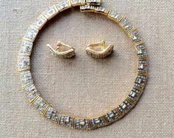 Retro Rhinestone Goldtone Collar Necklace and Clip On Earring Set