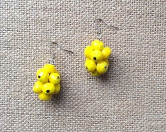 One-of-a-kind Grape Cluster Styled Dangle Yellow Glass Beaded Pierced Earrings