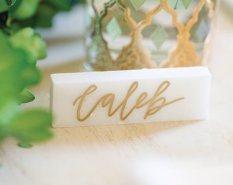 Hand-lettered Marble Place Cards | Custom Name Cards for Wedding or Event | Modern Calligraphy