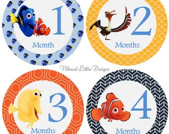 Monthly Baby Stickers Boy, Milestone Stickers, Month to Month Stickers Boy, Girl, Neutral, Finding Nemo #39