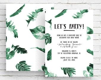 Modern Green and White Botanical Foliage Invitation, Housewarming