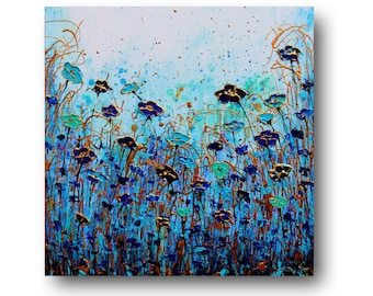 """Metal Wall Art, Metallic Painting, Floral Wall Art, Gold, Blue, Aqua, Textured, Abstract Floral, """"Under The Sea"""" 24x24"""" by SFBFineArt"""
