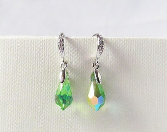 green iridescent earrings ab crystal drop earring from bridesmaids gift prom or pageant
