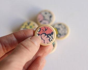 Set of 5 Floral Magnets // Cute Fridge Magnets