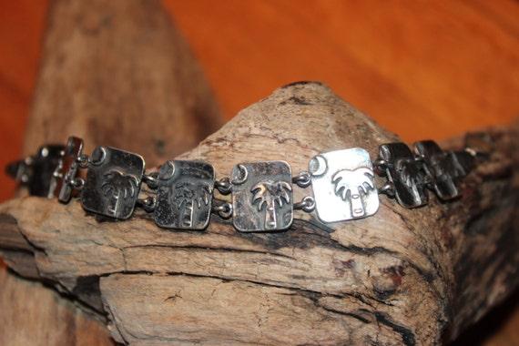 "Vintage Palmetto Moon South Carolina Sterling Silver Link 7"" Bracelet  Sterling Silver Bracelet Sterling Vintage  Heavy 17 grams 5/8"" Wide"