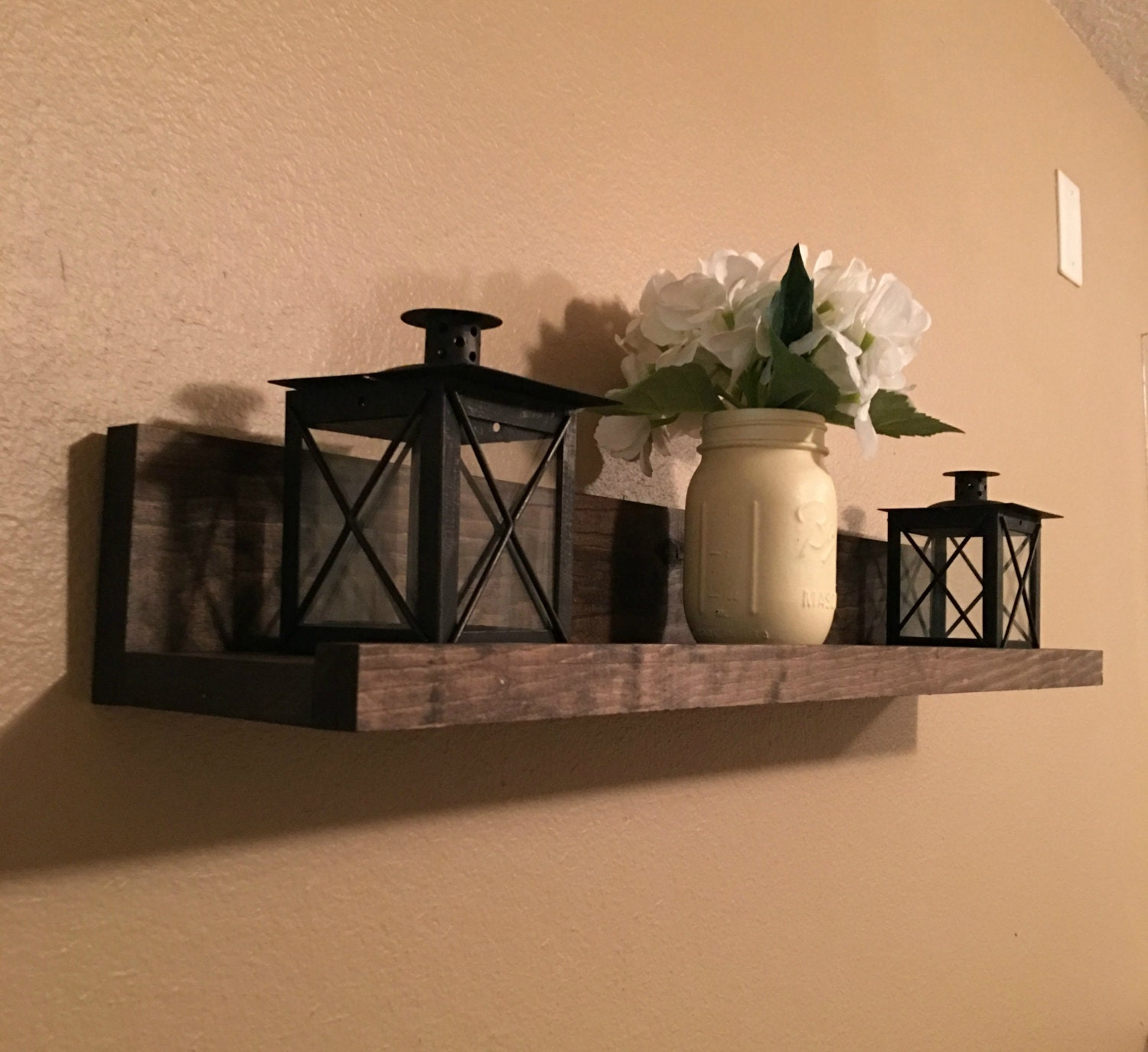 rustic wooden picture ledge shelf gallery wall by lisamarieds. Black Bedroom Furniture Sets. Home Design Ideas
