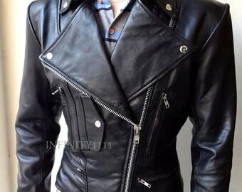Black Leather Jacket Womens Style Slim fit