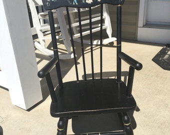 Vintage Child's Rocking Chair ~ Hedstrom Dotham Alabama ~Black with Painted Scene~ Folklore