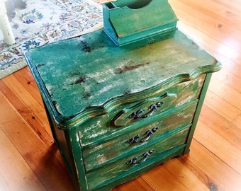 Shabby Chic End Table, chippy paint, green, gold undertones over rustic, stained wood, vintage, farmhouse, refinished nightstand