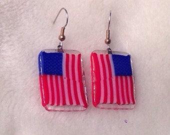 American Flag dangle earrings glass murrinis handmade in USA