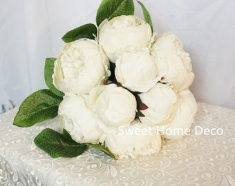 JennysFlowerShop 12'' Silk Peony Artificial Flower Bouquet Wedding/Home Decorations (14 Stems/9 Flower Heads) ivory