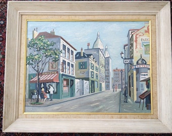 1950's Painting of Paris - Oil on Canvas Board