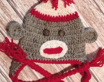 Sock Monkey Hat, Crochet Monkey Hat