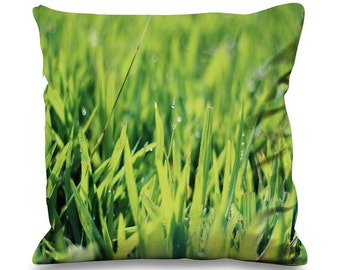 Blades of Grass with Dew Faux Silk 45cm x 45cm Sofa Cushion