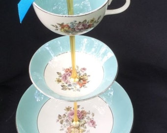 SALE Turquoise Blue, Wedding Cake Stand, 3 Tier Serving Tray, Tidbit Tray, Antique Cunningham & Pickett Danube Plates