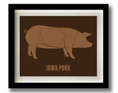 Iowa Pork Meat Cut Print - 11x14""