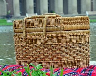 Picnic Basket, Wicker Basket, Lunch Basket, Picnic Hamper, Picnic For 2,  Storage Basket