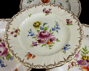Dresden Plates, Richard Klemm, Bread and Butter, 1800's, Antique, Set of 6