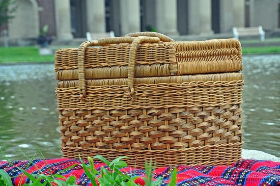 Picnic Basket, Wicker Basket, Lunch Basket, Picnic Hamper, Picnic For 2,  Storage Basket