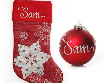 Personalised Red Snowflake Stocking and Bauble Pack