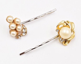 Gold and pearl hair pins, pearl rhinestone bobby pin, cream pearl hair pin, vintage 1950s earring wedding hair pin, bridal hair pin
