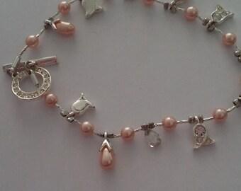 vintage PINK Rhinestone bracelet costume jewelry